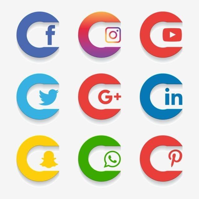 Social Media Icon Set Logo Network Share Business App Like Web Sign Digital Technology Collection Linked Pho Social Media Icons Social Icons Social Media Logos