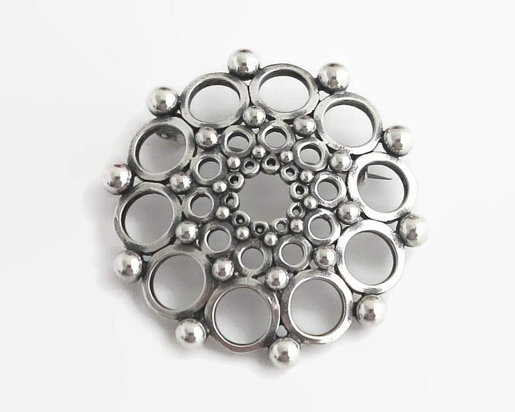 Large vintage sterling silver modernist brooch, Scandinavian, rows of circles, open metal work and solid sterling balls, 1980s, 18 grams by CardCurios on Etsy