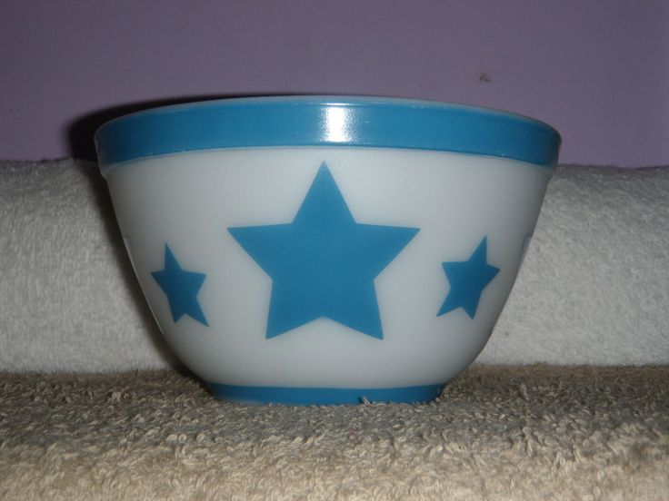 Vintage rare pyrex #401 blue banded stars nesting mixing bowl lqqk ...