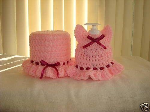 Crochet Handmade Toilet Paper Holder Cover And Soft Cover Set. $10.00, via Etsy.