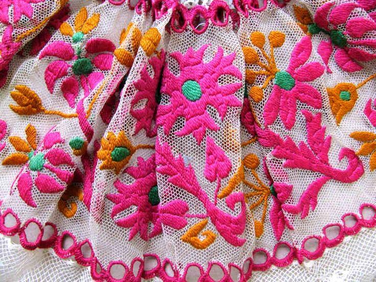 Slovakia, Hand embroidery on tulle of the cod-cresol women. Jablonica (dist. Senica), the first half of the 20th century. Depositary ÚĽUV. Photo: O. Danglová // Výšivka na tyle z krézla ženských rukávcov. Jablonica (okr. Senica), 1. polovica 20. storočia. Depozitár ÚĽUV. Foto: O. Danglová