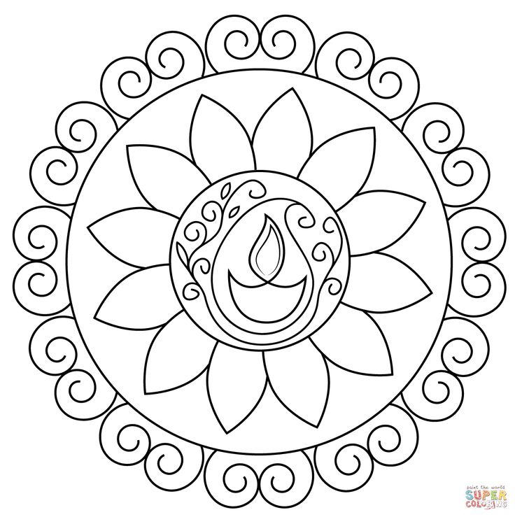 free coloring pages india designs | Diwali Rangoli Coloring Pages | Diwali colours, Diwali ...