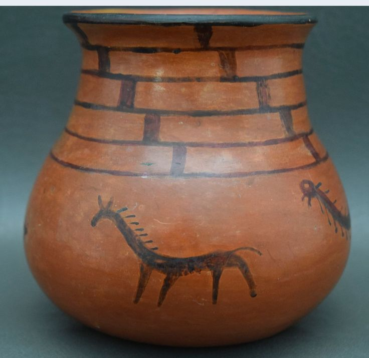 Native American Historic, Maricopa Indian Black on Red Pottery Jar, #934