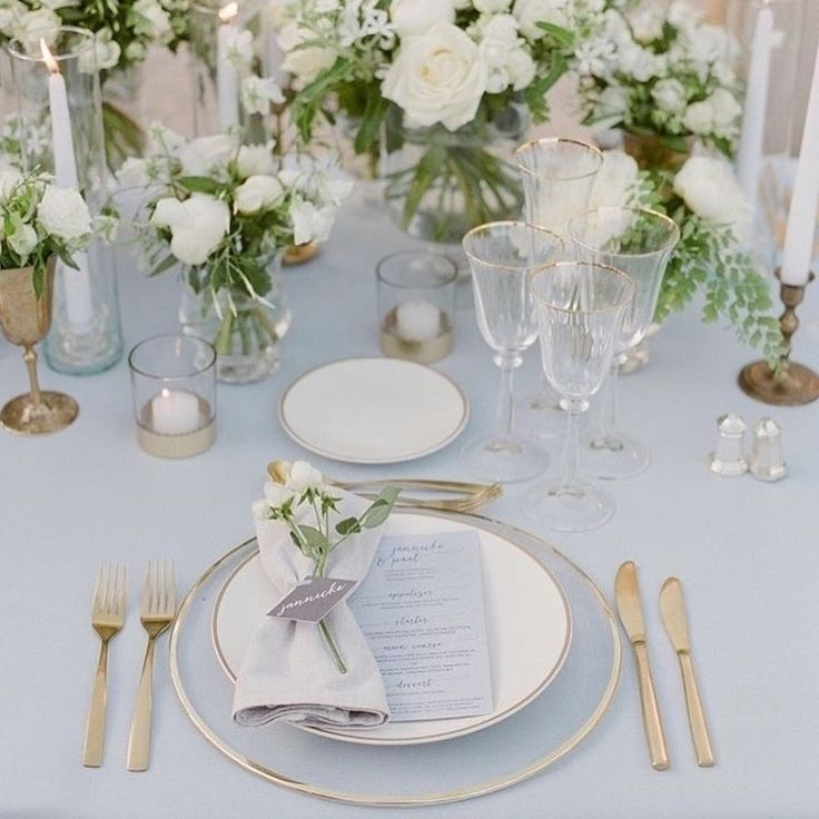 Gold Wedding Table Settings: The Most Elegant Grey, White And Gold Table Setting
