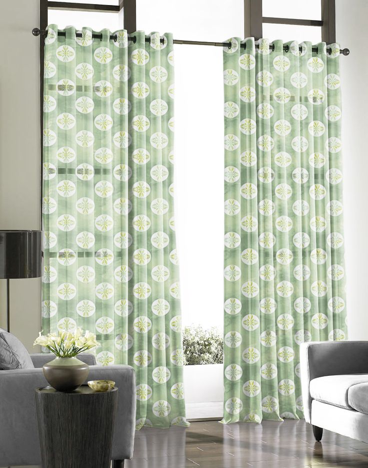 """Green sheer curtains printed in """"Glasgow"""" design"""