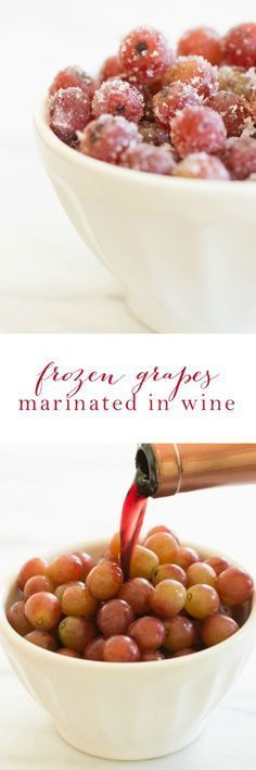 Cool off this summer with wine marinated frozen grapes! It's a light, refreshing and easy snack!