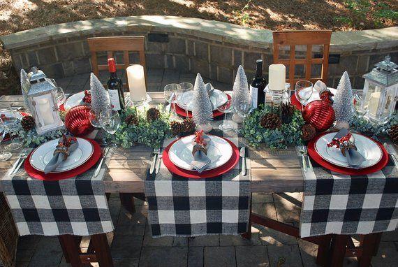 Modern Christmas Buffalo Check Christmas Table Runner With Etsy Christmas Table Settings Christmas Decor Diy Christmas Table Decorations