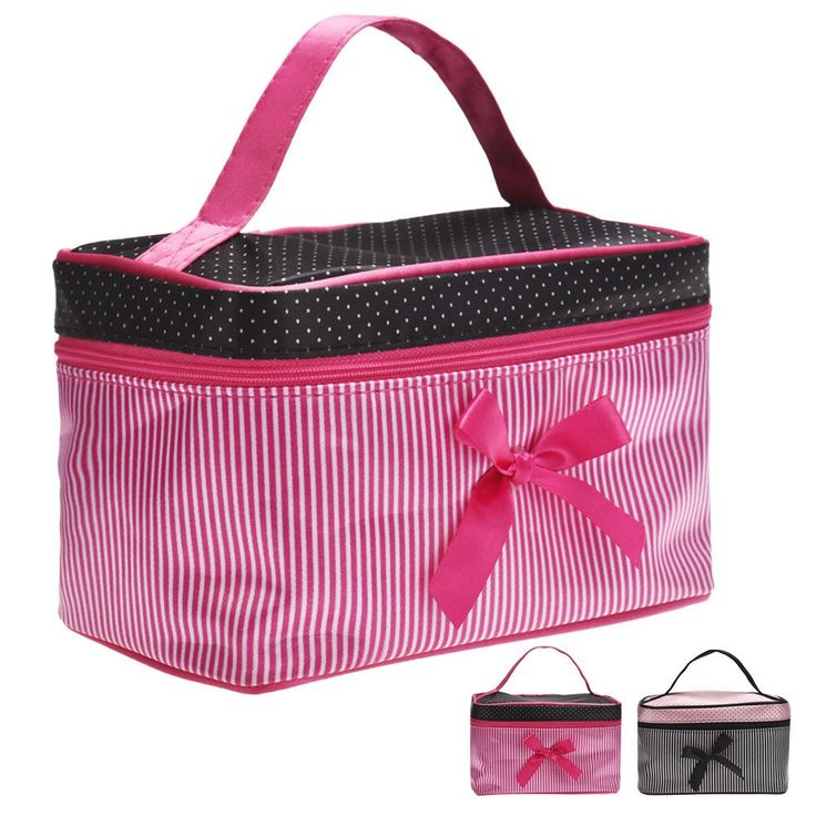 New Bowknot Stripe Makeup Cosmetic Bag Square Storage Box Make Up Organiser Container