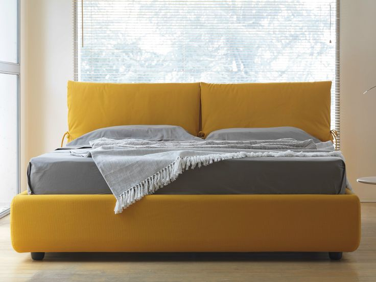 Buy online Wave By hoffmann, fabric bed with upholstered headboard