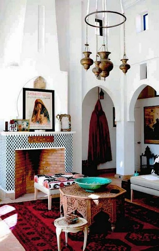 bohemian decorations | B8 BOHEMIAN DECOR 2 / .  White, modern paint and trim with bright bohemian decor/accessories