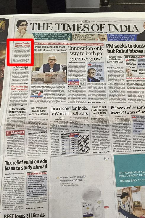 Front Pages Of Newspapers Across India Have Ignored The Chennai Floods Entirely