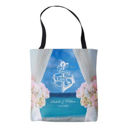 Modern Floral Blue Ocean Beach Wedding Tote Bag - romantic wedding love couple marriage wedding preparations
