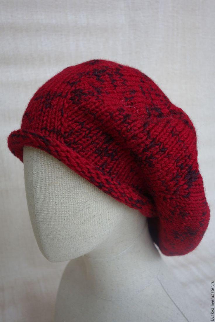 """Купить другая """"Красная шапочка"""" )) - ярко-красный, однотонный, берет, шапка, капсула, шерсть"""