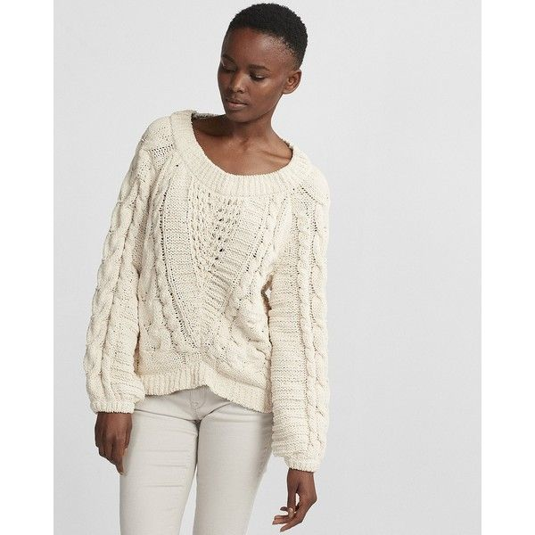 Express Petite Cable Knit Matte Chenille Balloon Sleeve Sweater 40 Liked On Polyvore Long Cable Knit Sweater White Cable Knit Sweater Cable Knit Sweaters