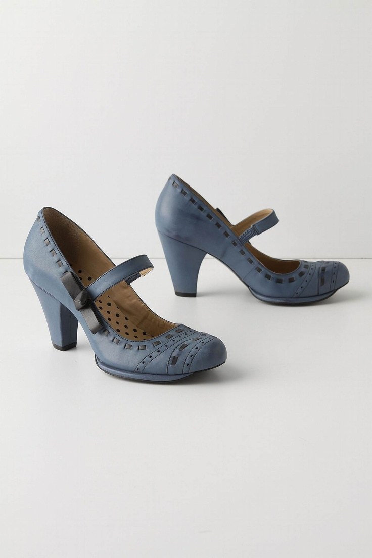 dusky roads mary-janes: serene twilight-blue leather with gray leather 'ribbon' detailing & bow