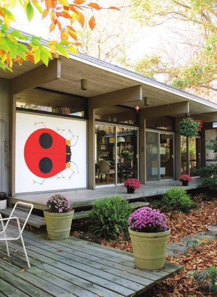 Love the ladybug on the verandah (Charley Harper house)