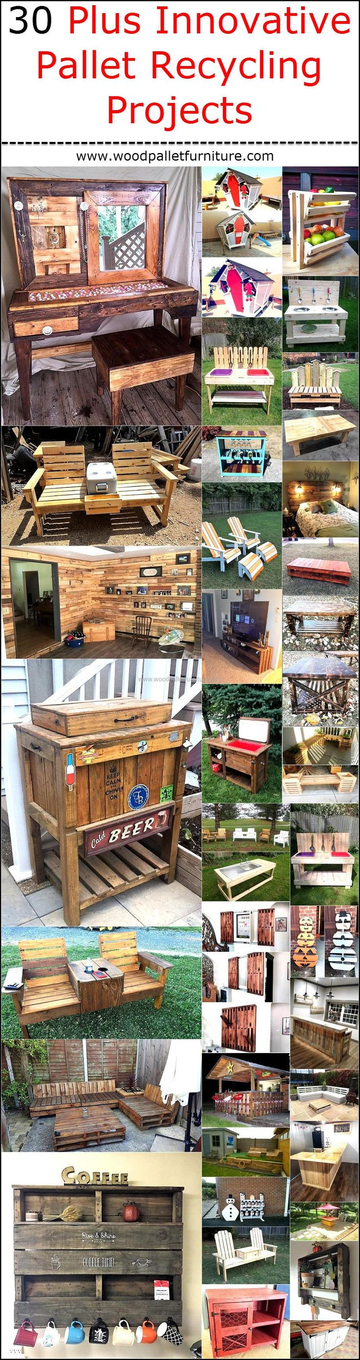 705 best wooden pallet furniture images on pinterest - Palette recyclee ...