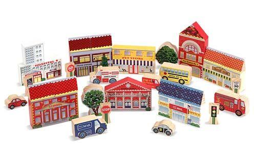 Wooden Town Blocks Play Set