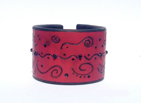 Wide bracelet burgundy black / unique gothic jewelry / polymer clay cuff with crystals