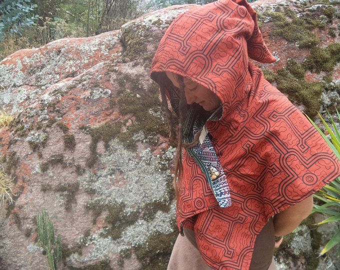 Hood Festival wear psychedelic Shipibo Indigenous Amazon Tribe Ayahuasca patterns, Embroidery.TribalElemental, a global marketplace of handmade, vintage and creative goods.