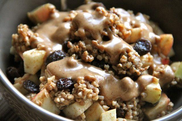 Buckwheat groats cooked in 2% milk and cinnamon – warmed apple – raisins – roasted almond butter.