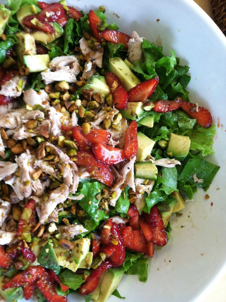Strawberry, avocado, and pistachio chicken salad.