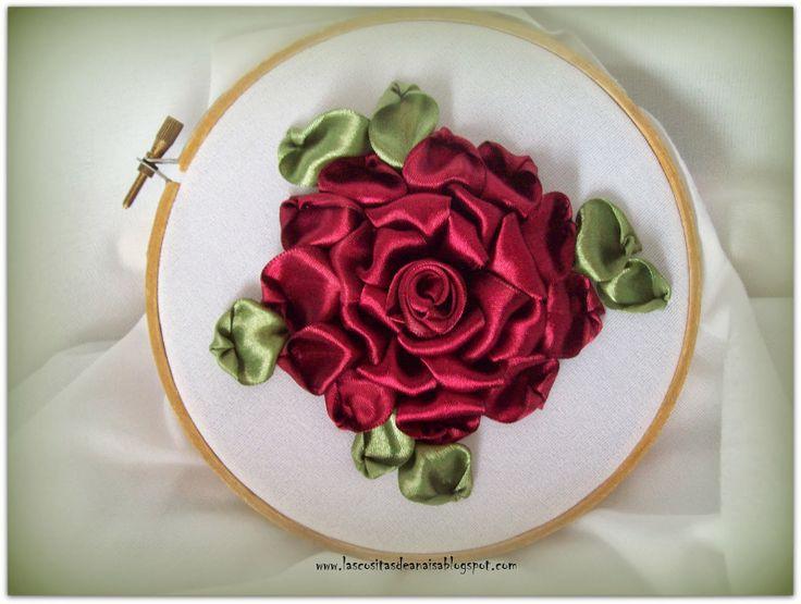 El taller de Anaisa: Como Bordar una Rosa con Cintas (Tutorial)