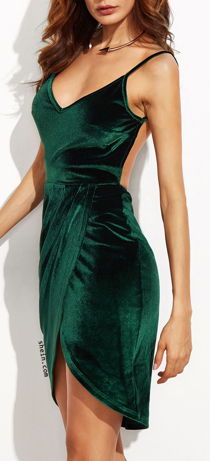 Dark green backless ruched velvet wrap cami dress.