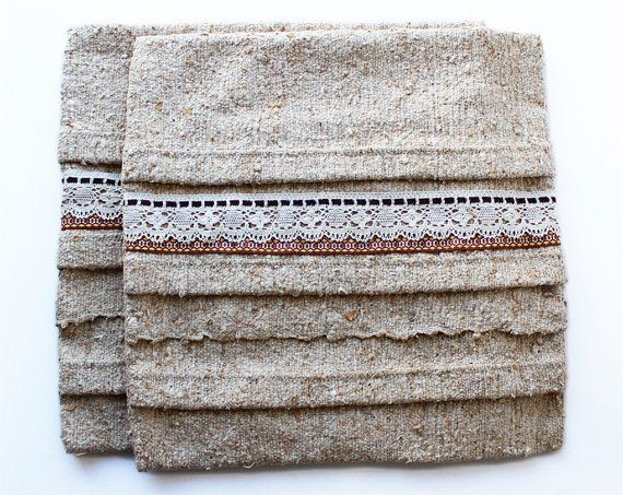 Oatmeal Natural Cushion Covers - Set of Two Large Cushion Covers made from textured wool and vintage lace.