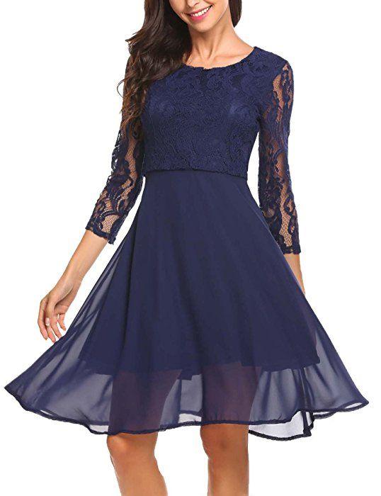 Shoppen Sie Finejo Damen Elegant Chiffonkleid Abendkleid Cocktailkleid 3/4  Arm mit Spitzen Ballkleid Party