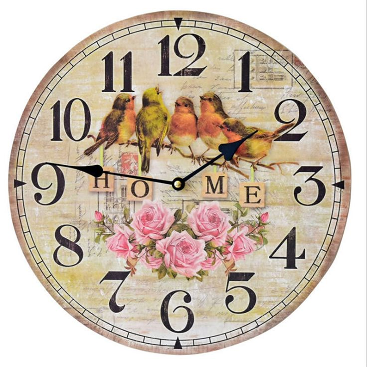 Five Little Birds Wall Clocks 35 CM Vintage Wall Clock Large Wall Watches for living Room Home Decor