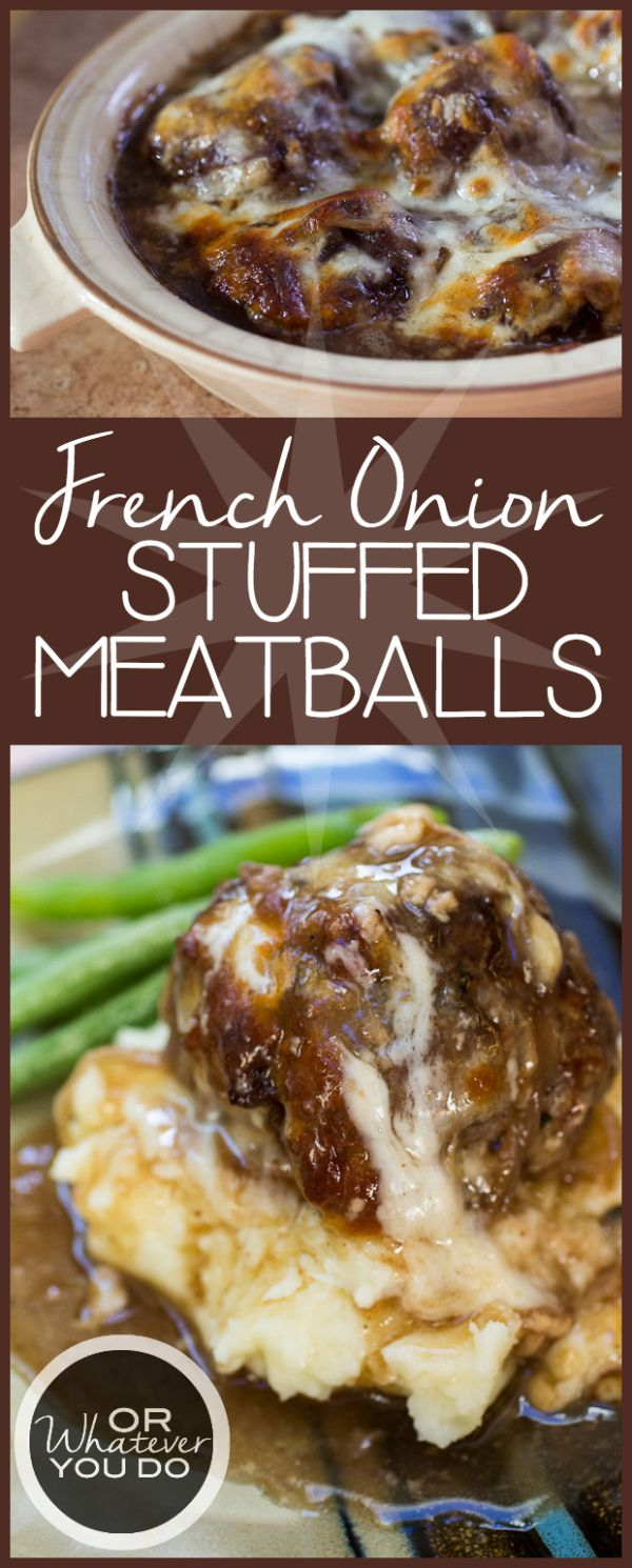 French Onion Stuffed Meatballs