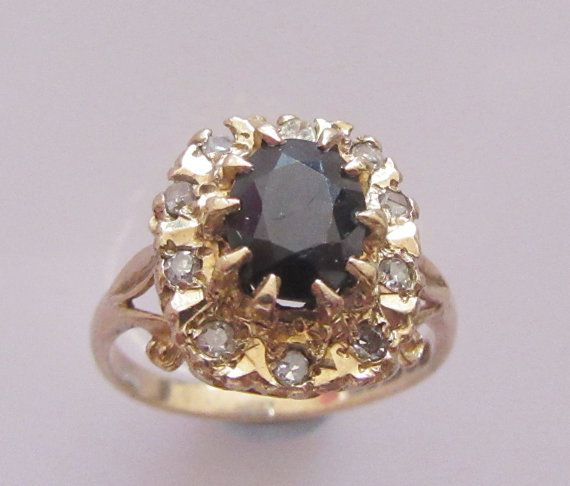 Large 9ct Gold Sapphire and Diamond by Britishgoldandsilver