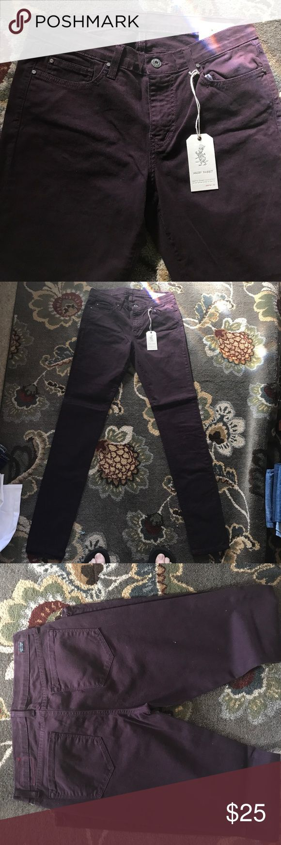 Angry Rabbit Pants 98% Cottonial Gordon 2% Spandex size 30/11 color is called Sugar Maroon Skinny Jeans to me there a plum or Grape color Angry Rabbit Pants Skinny