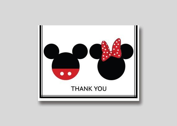 Instant Download Mickey Minnie Mouse Thank You Card Diy Etsy Diy Note Cards Minnie Disney Cards