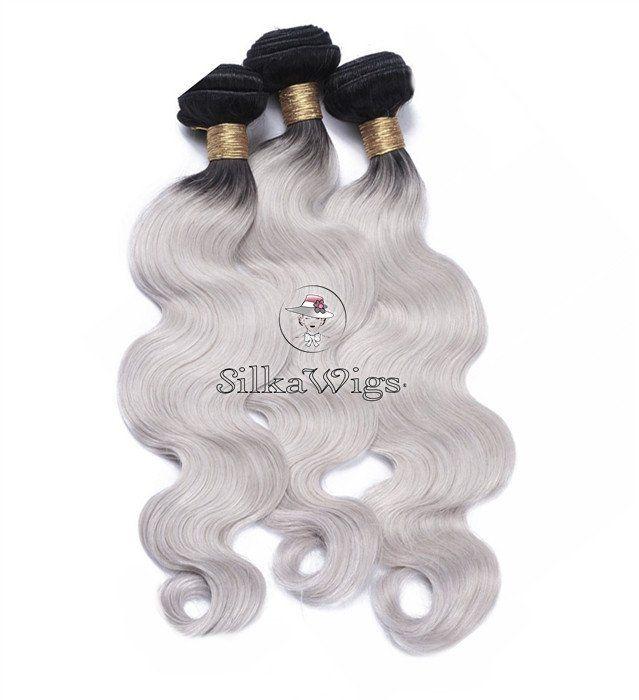 Body wave Ombre 1B/Grey weave 100%  Brazilian Human virgin Hair ( 200g-400g)