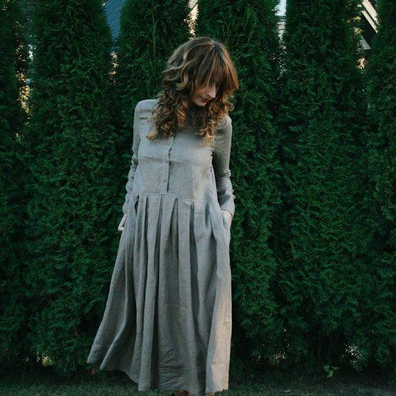 Beige Leinen Kleid  Bio  lose Fitt Kleid  Langarm von OffOn auf Etsy