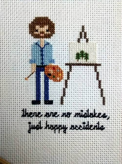 Bob ross/ family portrait - NEEDLEWORK