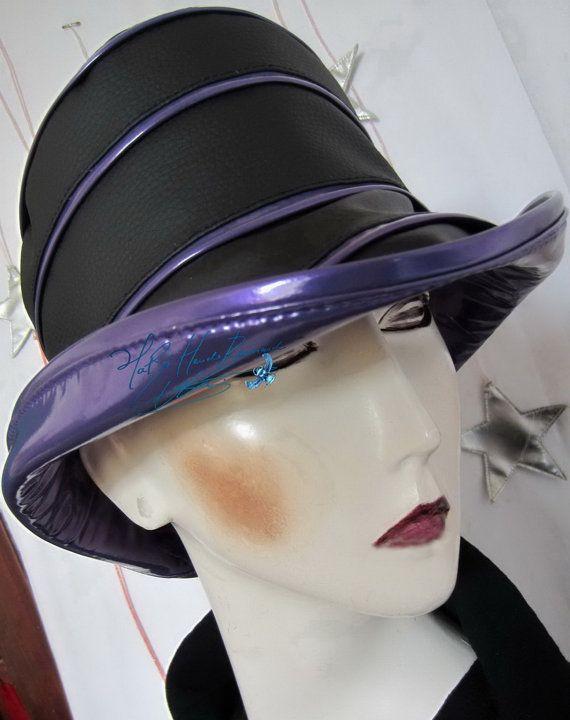 chapeau de pluie d'été sur commande noir ébène et violet