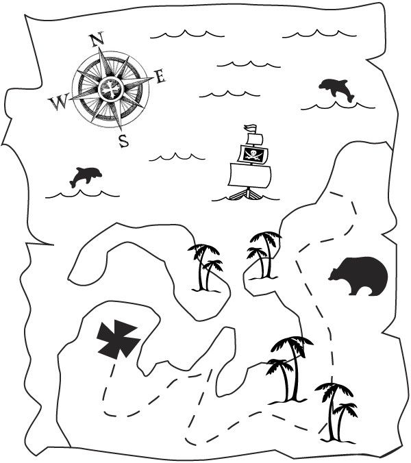 free pirate printables | pirate-treasure-map halloween --- Coloring pictures