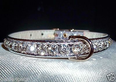 Rhinestone BLING Dog PET collars Crystal Jewel SILVER 4 sizes metallic
