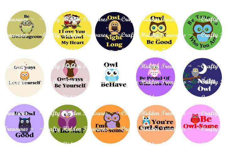 "Cute Owl Quotes 1"" Bottle Cap Digital Image - 4x6 1 inch Digital Collage sheet (1.00 USD) by CraftyHiddenTreasure"