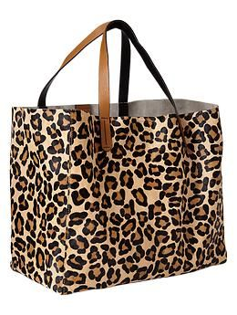 A simple design perfect for quick packing and departure: Animal print calf hair tote bag by @Gap