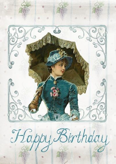 Free Happy Birthday cards Vintage, GIF and Clip Art - Artsy Bee Digital Images