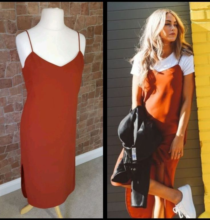 Ladies M&S Rust/Orange Strappy Midi Dress UK 14 Cami/Slip Style Layer blogger | Clothes, Shoes & Accessories, Women's Clothing, Dresses | eBay!
