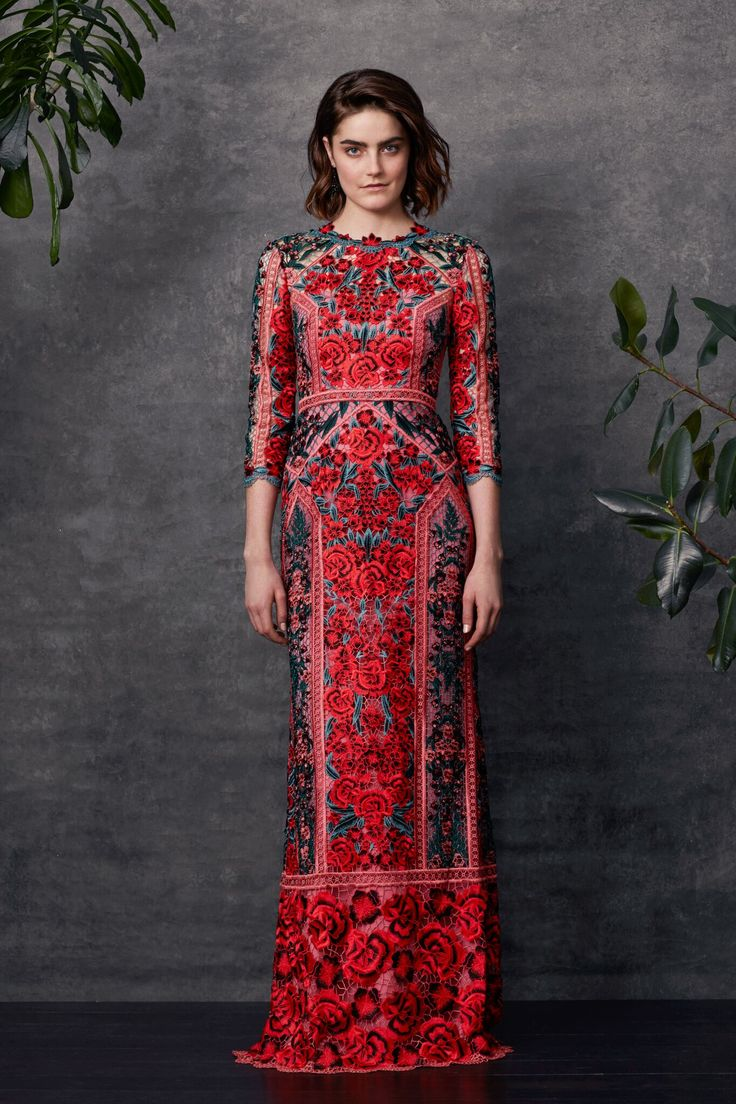 ¾ sleeve guipure lace gown with trims