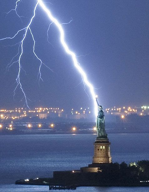 "Okay, gorgeous picture of the Statue of Liberty and a beautiful lightning strike, breathtaking picture in all. But what the last pinner captioned it was too funny: ""Thor helping out the Doctor."" XD"