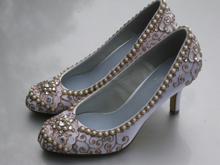 I think of Cinderella... Golden Vines Bridal Heels Pink Version Wedding Shoes - Any Size - Pick your own shoe color and crystal color.
