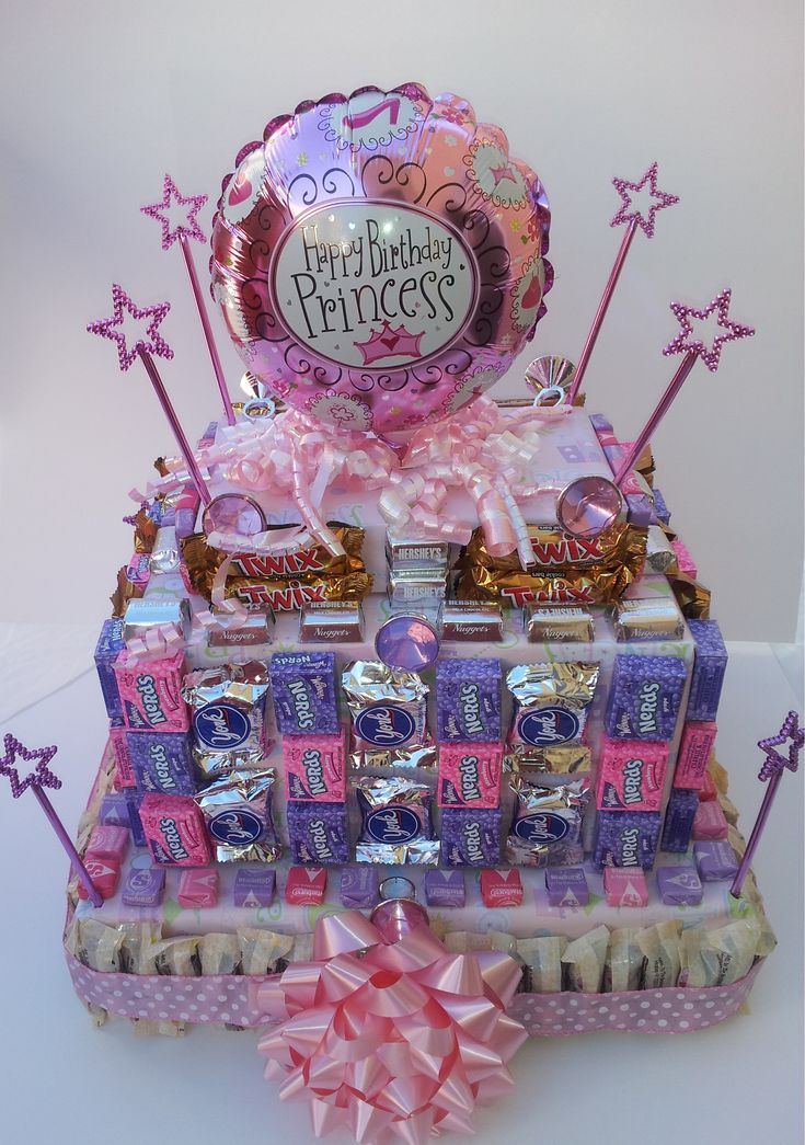 Princess Birthday Cake made with all candy bars, I know my girls will love this cake for there birthday.