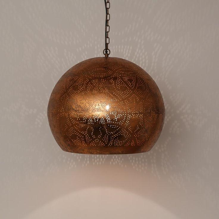 Hanglamp filigrain bol - koper | Verlichting | El Kantra | Marokkaanse lifestylewinkel